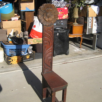UNKNOWN NARROW WOOD HAND CARVED CHAIR - Furniture