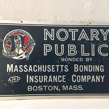 Massachusetts Bonding & Insurance Co. Boston, Mass Antique Tin Sign - Advertising