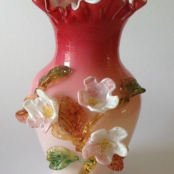 Victorian art glass vase with applied flowers - Art Glass