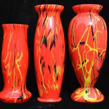 Czech cased peloton vases - Art Glass