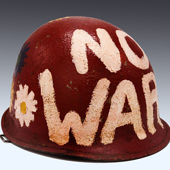 Exceptional Anti Vietnam War Washington DC Peace Protest Painted Hippie Helmet - Politics