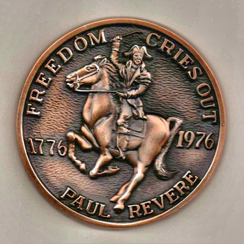 "Bicentennial ""Paul Revere"" Bronzed Paperweight - Office"