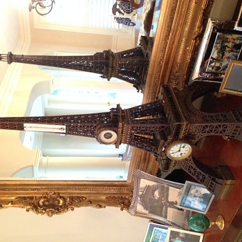 Eiffel Tower Wooden Clock (hand made around 1890) - Clocks