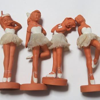 Pottery Terracotta Ballerina Figures- Winscombe Pottery, Banwell, Somerset. - Pottery