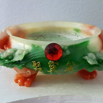 Chinese Bowl with Dragons Carved on outside - cannot identify the type of stone this is made of - Asian
