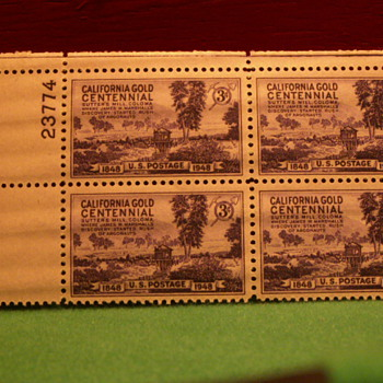 1948 California Gold Centennial 3¢ Stamps