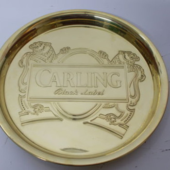 CARLING BLACK LABEL SOLID BRASS TRAY - Breweriana