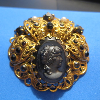 German Mourning black cameo  - Fine Jewelry