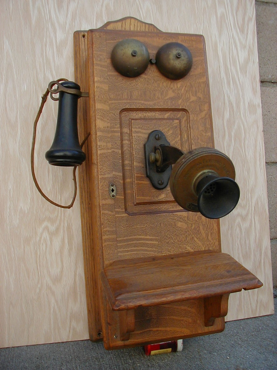 SKU Antique Wood Wall Telephone Brass Eyelets 21286
