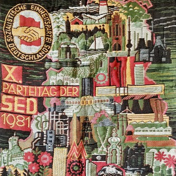 "East German 1981 Communist party ""SED"" congress tapestry wall art - Rugs and Textiles"