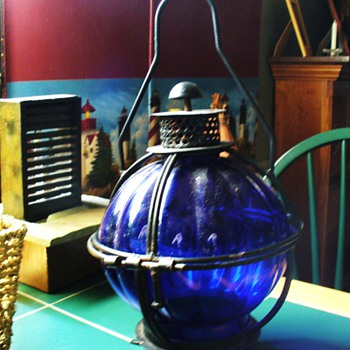 Cobalt Blue and Black Wrought Iron Candle Lantern - Glassware
