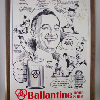 Vintage Ballantine Beer Ad Featuring Mel Allen and the New York Yankees - Baseball