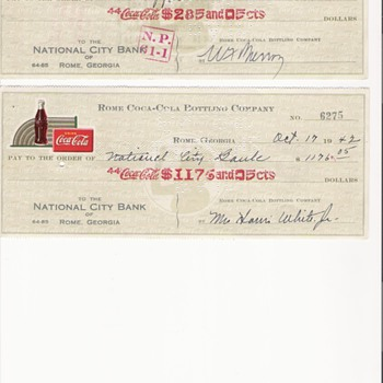 1947 Rome Coca Cola Bottling Company - Checks  - Coca-Cola