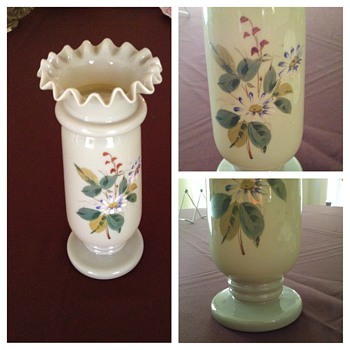 UNMARKED Beautiful Hand Painted Olive Green Glass Vase - Art Glass