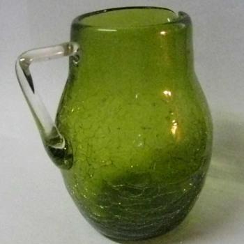 Vintage hand blown Crackle Glass Pitcher, dark lime green, applied handle