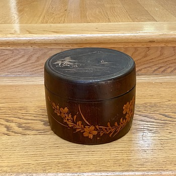Wooden Asian motif lidded container - Furniture