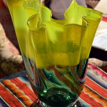 Glass handkerchief vase?? Chartreuse and blue-green. - Art Glass