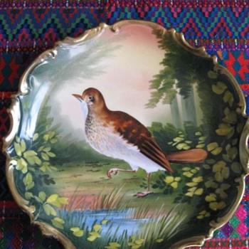 L. Sazaret & Sons Antique Austrian Handpainted Bird Plate Signed Poivrier - China and Dinnerware