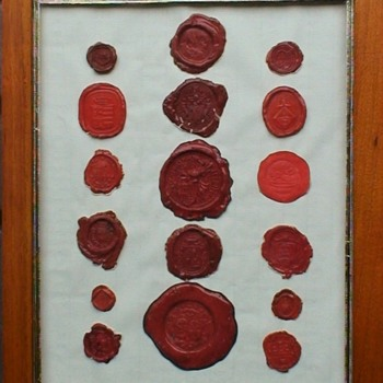 Collection of 17 Red Wax Seals 19th Century England - Office