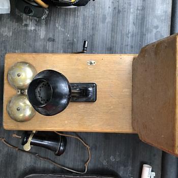 Wooden antique  crank telephone  - Telephones