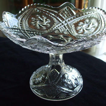INDIANA GLASS CO. Double Pinwheel OPEN COMPOTE - Glassware