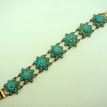 Antique Pave Turquoise and Bracelet - Fine Jewelry