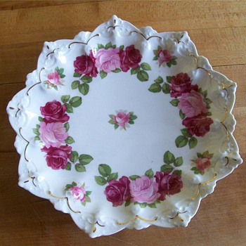 Antique M Z Austria Embossed Porcelain Decorative Plate ~ Gorgeous Roses   - China and Dinnerware
