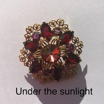 Garnet Rhinestone Filagree Flower Brooch - Costume Jewelry