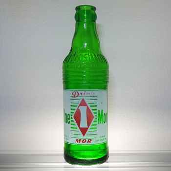 1948 One Mor Citrus Soda Bottle Owens-Illinois Glass West Brownsville Pennsylvania Green Vintage Collectible - Bottles