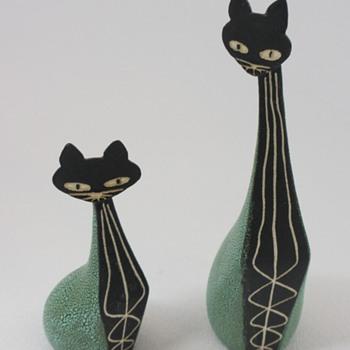 """Hagen Renaker """"Black Bisque"""" Cat Figurines - Mid-Century Modern"""
