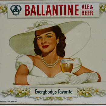 1948 Ballantine Ale and Beer Brunette Beauty Masonite Litho U.S.A. - Breweriana