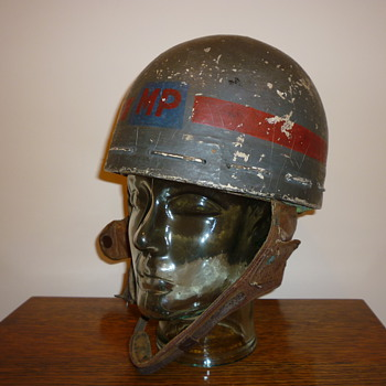 British WW11 Papier Mache and cloth MP helmet.