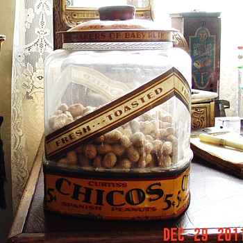 1920's Curtiss Candy Co. Chicago...Chico's Spanish Peanuts Jar...only 5 cents - Advertising