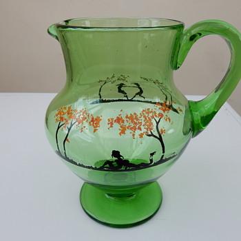 Haida Glass Schwarzlot Jug/Pitcher With Silhouette. - Glassware