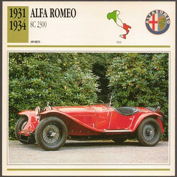 Vintage Car Card - Alfa Romeo 2300 - Classic Cars
