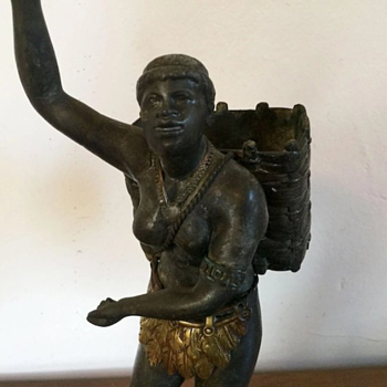 Bronzed Spelter Blackamoor Figure Representing Africa from the Continents 19TH Century - Advertising