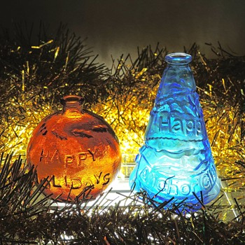 Anchor Glass Happy Holidays Glass Ornament Bottles Collectibles 1982 1991 Merry Christmas - Christmas