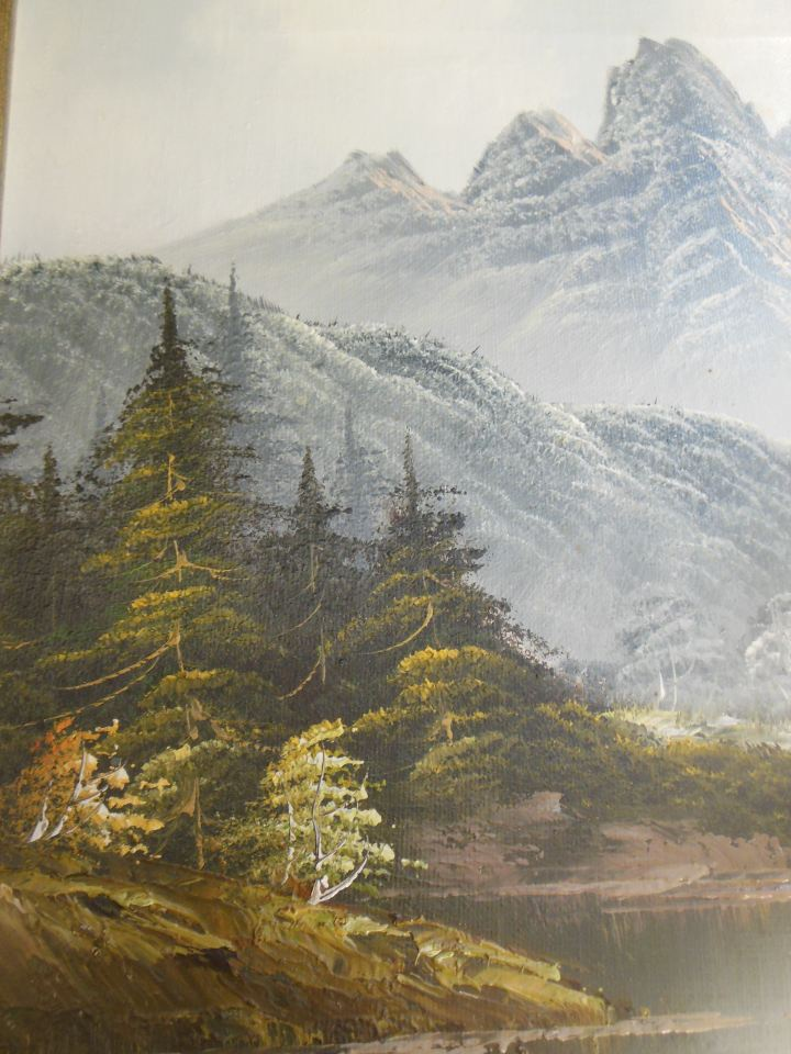 Mountain River And Forest Landscape Oil Painting Signed
