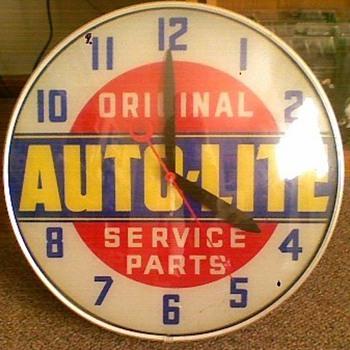 Grandpa's Lackner Auto-Lite Clock - Advertising