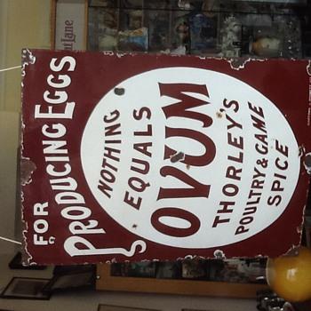 Enamel/Porcelain Sign Eggs Poultry & Game Spice - Advertising