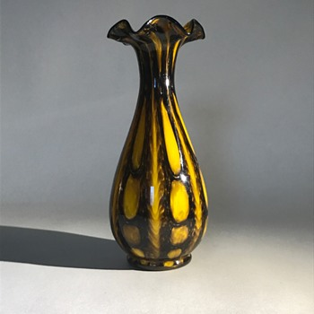 Welz Bright yellow and Black Bubble vase - Art Glass