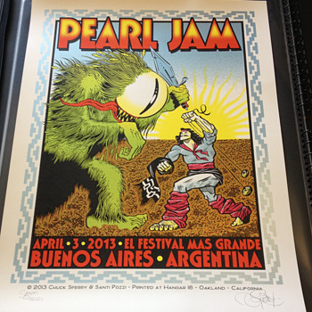 Chuck Sperry/Santi Pozzi poster for Pearl Jam in Argentina - Posters and Prints