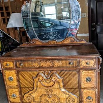 Antique dresser with mirror  - Furniture
