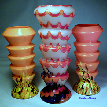 CZECH DECO SPATTER GLASS STEP VASES - Art Deco
