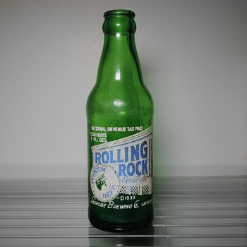 1942 Rolling Rock Beer Bottle Latrobe Brewing Pennsylvania Green Pony 7 Ounces Glass ACL  - Bottles