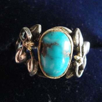 British Arts and Crafts floral silver and turquoise ring, likely by Liberty Co 1900
