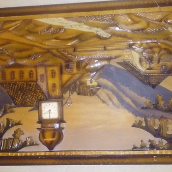 West Germany Black Forest wood carved picture/ clock/ musical movement