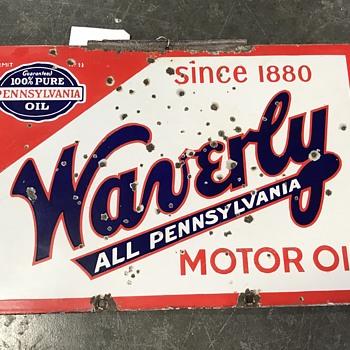 Waverly motor oil sign  - Petroliana