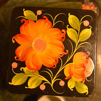 Laquer Box with Floral Painting on it - Furniture