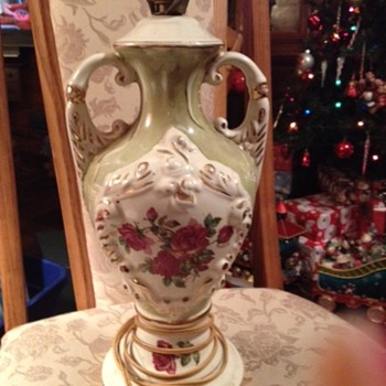 Antique rose painted urn lamp and were wondering the who the artist is???  - Lamps